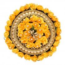 Tocado moño rosas amarillas con piedras