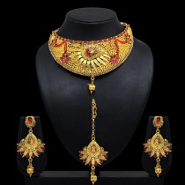 Conjunto india rojo y dorado