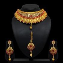 Conjunto hindu piedras rojas y doradas