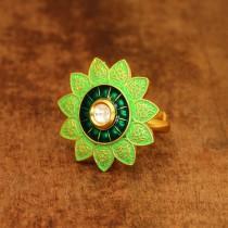Anillo flor india verde