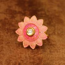Anillo flor india rosa