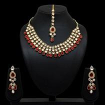 Conjunto rojo collar pendientes y tikka