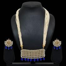 Conjunto perlas y piedras azul