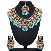 Conjunto Joyas Hindues azul cielo