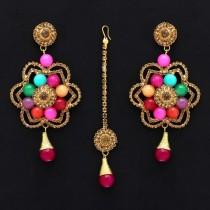 Pendientes Bollywood de colores con tikka