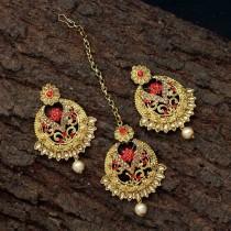 pendientes flor roja con tikka