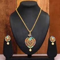 Conjunto pavo real collar y pendientes