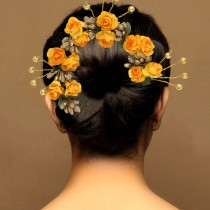 Tocado rosas amarillas
